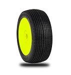 1:8 BUGGY DOUBLE DOWN SUPER SOFT EVO WHEEL PRE-MOUNTED YELLOW