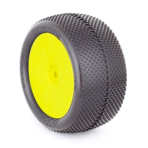 1:10 BUGGY EVO GRIDIRON REAR (ULTRA SOFT) EVO WHEEL PRE-MOUNTED YELLOW