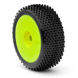 1:8 BUGGY CROSSBRACE ULTRA SOFT EVO WHEEL PRE-MOUNTED YELLOW (ONE PAIR)
