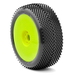 (FACTORY SECOND) 1:8 BUGGY GRIDIRON SOFT EVO WHEEL PRE-MOUNTED YELLOW (ONE PAIR)