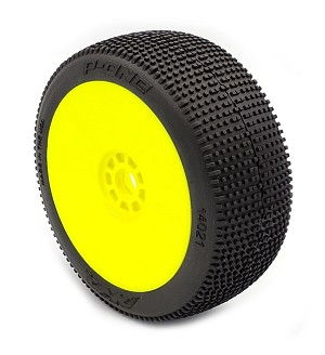 1:8 BUGGY P1 (SOFT - LONG WEAR) EVO WHEEL PRE-MOUNTED YELLOW