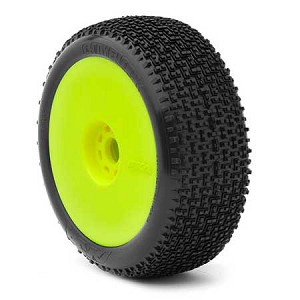 1:8 BUGGY CITYBLOCK SOFT EVO WHEEL PRE-MOUNTED YELLOW (ONE PAIR)
